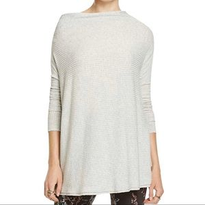 Free People Lover Rib Split Back Gray Pullover